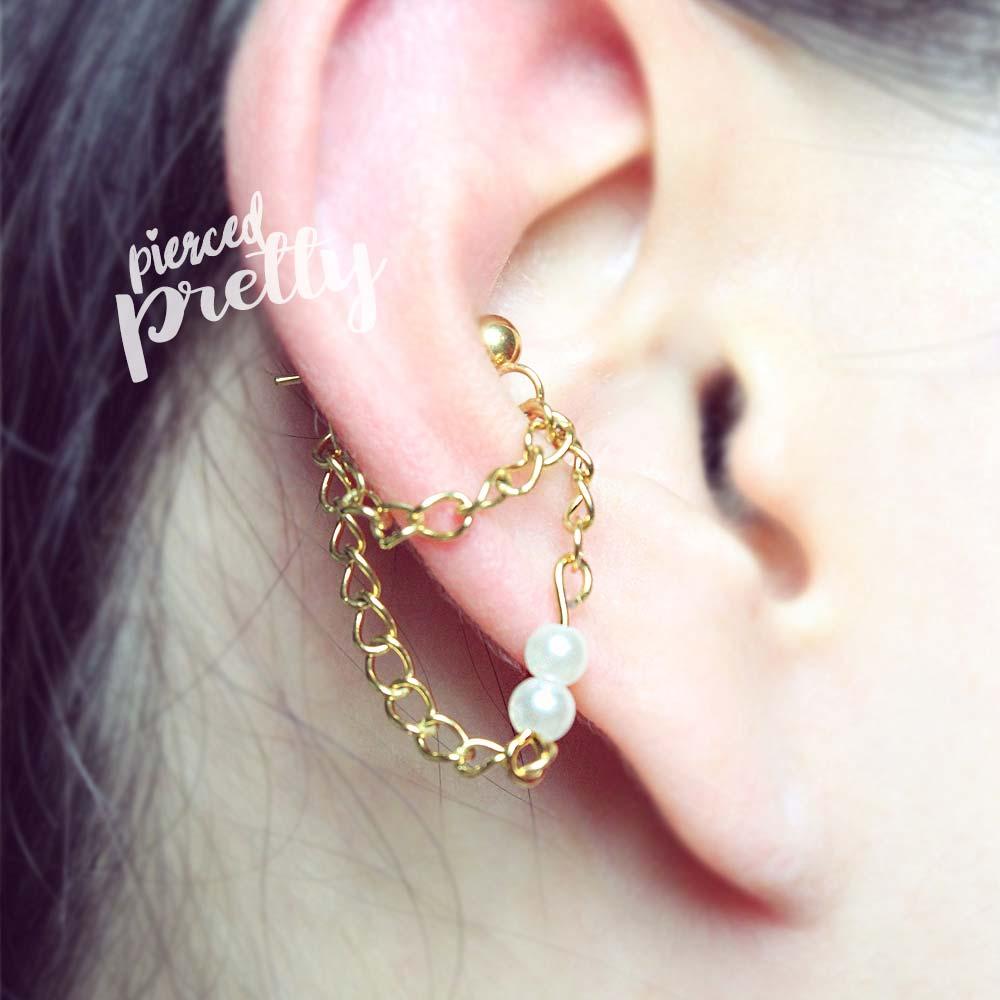 Pearl Conch Chain Earring Conch Dangle Earring Helix Earring
