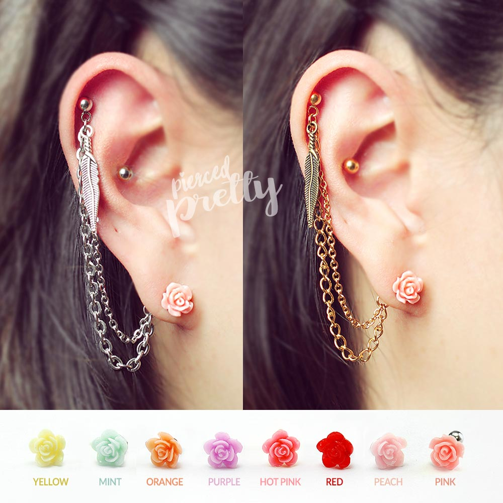 b35e4e744369f Helix to lobe feather & pink rose chain earring, helix double chain  earring, ear cartilage chain jewelry, 304 / 316l Stainless Steel, Sold ...