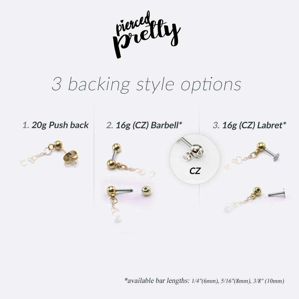 Drperfect Cartilage Earrings for Women 16G 316L Stainless Steel CZ Dangle Helix Tragus Cartilage Stud Ear Piercing Jewelry