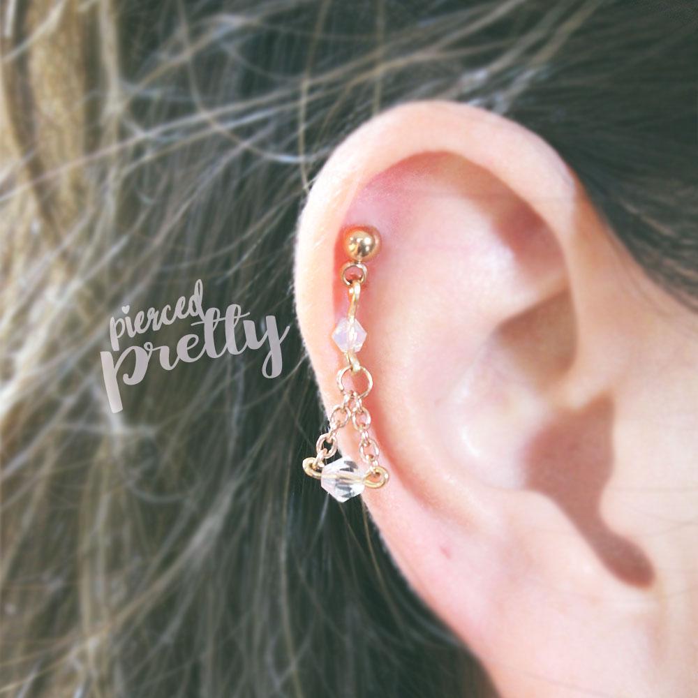 Crystal Tragus Stud Studs Helix Cartilage Ear Piercing Labret Barbel